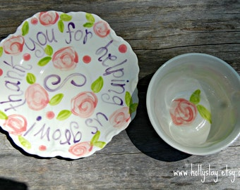 Personalized Tea Cup & Saucer, large size handpainted