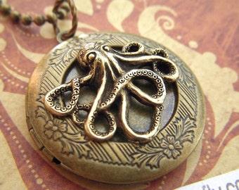 Round Brass Locket Necklace Antiqued Brass Octopus Locket Primitive Rustic Brass Gothic Victorian Nautical Steampunk Vintage Style