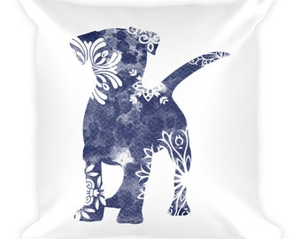 Watercolor Mandala Accent Pillow   18x18 Square Pillow   Dog   Blue