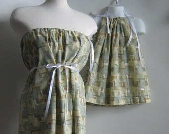 Mommy and Me Matching. Pillowcase Dress and Tunic Top. Mothers Day Gift. Spring Dresses. Summer Dresses. Army Print