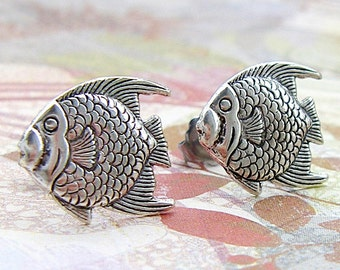 Something Fishy - antique silver post earrings