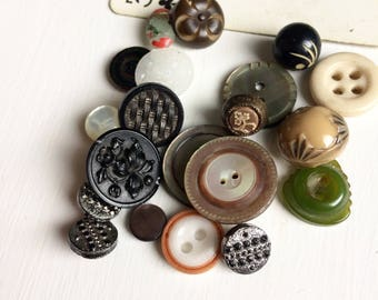 Antique buttons collection small Victorian glass metal mop buttons