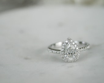 Halo Engagement Ring, Pear Moissanite Halo Diamond Ring, Pear Shape Stone, Diamond Halo Engagement Ring with Pear Shape Moissanite