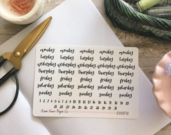 Bullet Journal Day of the Week Stickers