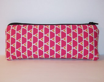 """Pipe Pouch, Pipe Case, Pipe Bag, Padded Pouch, Geometric Pouch, Pink & Orange Bag, Girly 420 Pouch, Stoner Gift, Vape Pen Case - 7.5"""" LARGE"""