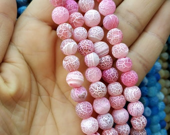 Matte Pink Frosted Agate,Matte dragon veins Pink stone 8mm Round Beads- 47pcs/Strand