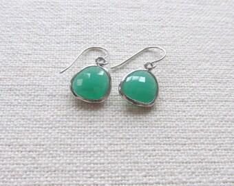Jade Green Dangle Earrings, Silver Dainty Earrings