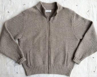 vintage 1980s LL Bean tan wool zip front cardigan / sweater jacket, unisex