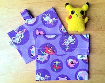 POKEMON Reusable Sandwich & Snack Bag Set in Purple Pokeball print - ECOfriendly - Food Safe - Dishwasher Safe - Back to School