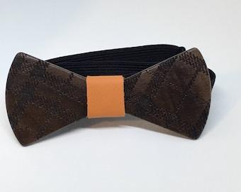 Walnut Bowtie with Plaid design - wooden bowtie -wood bowtie- wedding - wedding accessories -groomsmen gift -gifts for him - 5th Anniversary