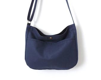 Canvas Hobo Bag Crossbody Bag Slouch Bag Purse Blue