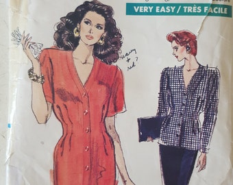 Sewing Pattern, Vogue 7245, Vintage 1980's, Very Easy Very Vogue, Dress, Suit, Jacket, Skirt, Shoulder Pads, Pencil Skirt, Size 18 20 22