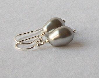 Silver Pearl Dangle Earrings, Pearl Earrings, Pearl Jewelry