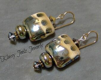 Lampwork Drop Earrings-Artisan Lampwork Beads-Artisan Metallic Lampwork Earrings-Beach Glamor Earrings-Dangle Earrings-Dressy Earrings-SRAJD