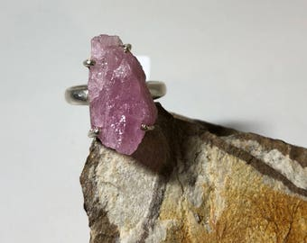Raw pink tourmaline  on sterling silver ring size 8.5