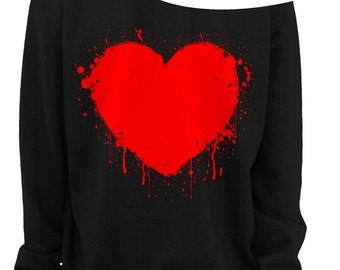 VALENTINE'S DAY SHIRT- Heart - Slouchy Sweatshirt - Grunge - Splatter Heart - Off the shoulder - Red Imprint - s-3x