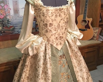 ivory and Sage Custom Sized Elizabethan Renaissance Court or Wedding Gown for Nobility or Royalty