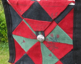 Red, Black and Green Corduroy Patchwork Purse