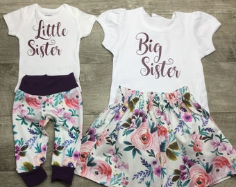 Big sister little sister matching sibling outfits, shirts, skirts, pants and oneies for newborn to 5T