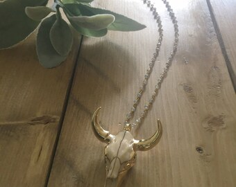 Longhorn Long Necklace/Christmas Gift/Gift for her/Birthday Gift/Bull Horn Necklace