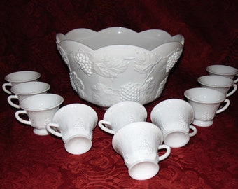 Vintage Colony Harvest Milk Glass Grape Punch Bowl Set with 10 Footed Cups (Produced by Indiana Glass Co)