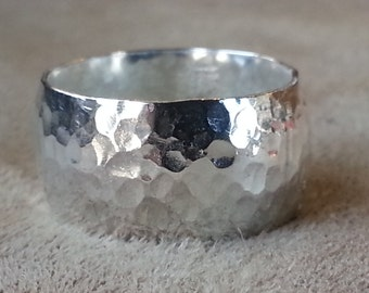 Sterling Silver Wide Hammered Ring