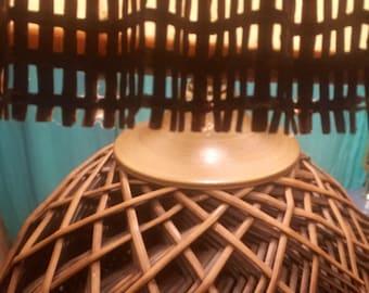 MCM Lamp Optical Weave Table Lamp Mid Century Modern with Original Shade Woven Lamp Modern Decor Lighting