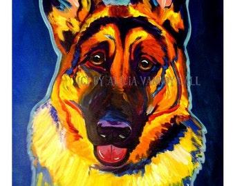 German Shepherd, Pet Portrait, DawgArt, Dog Art, Pet Portrait Artist, Colorful Pet Portrait, German Shepherd Art, Art Prints, Art