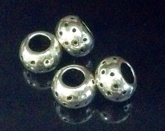 Pewter Rondelles, Big Hole Beads, 5x7mm, Antique Silver Beads, 4mm Large Hole, Lead Free, Lot Size 20 to 50, #1026 BH