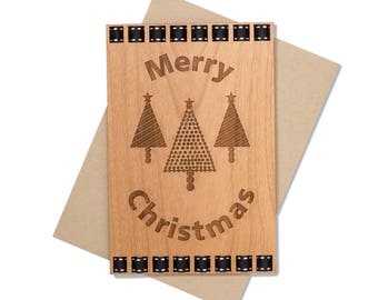 Black and White Classic Christmas Card. Simple Christmas Wood Card. Rustic Christmas.