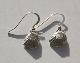 Tiny Marazion Silver Limpet Drop Earrings