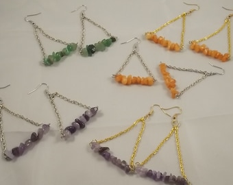 Gemstone chip Dangle Earrings