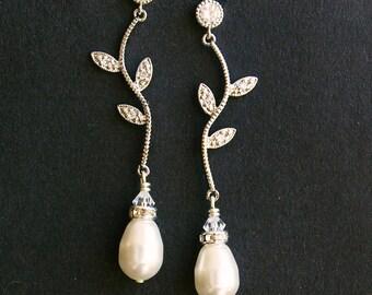 Rhinestone Leaf Bridal Earrings, Vintage Inspired Bridal Wedding Earrings, Ivory White Pearl Drops, Silver Leaf Bridal Jewelry, Eden