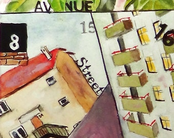 Home Address. Archival print of Orginal Watercolor