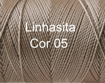 Linhasita Tan Sand cor 05 - 100% Waxed Polyester Macrame Cord Durable Washable/ Hilo