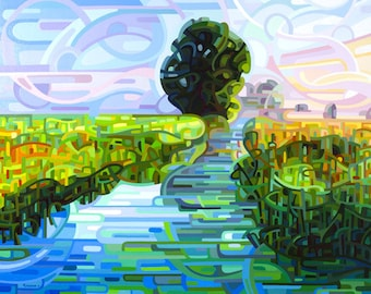 early morning stream, dawn, wetlands, sunrise, blue, green, Large Signed Fine Art Giclee Print from my Original Painting - Ebb and Flow -