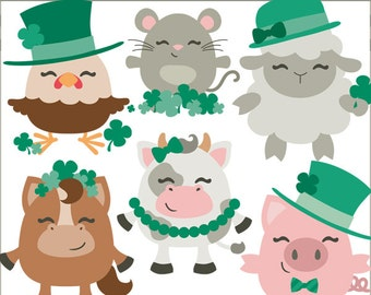 St Patrick's Day Clipart Set -Personal and Commercial Use- Farm Animals and Shamrocks Clip Art