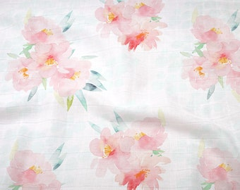 Double Gauze Fabric, Pink Floral Blooms - 100% cotton muslin fabric by the half yard - great for baby swaddle blankets