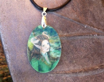 Lady of the Forest  Mother of Pearl Amulet by Mickie Mueller