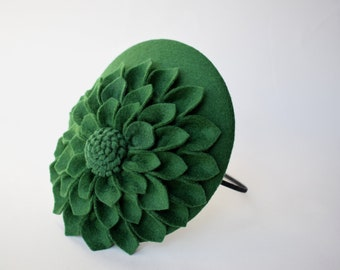 Green Hat - Mini Hat, Percher, Green Cocktail Hat, Felt Hat, Fascinator, Womens Hat, Wedding Fascinator, Wedding Hat, Dahlia, Felt Flower