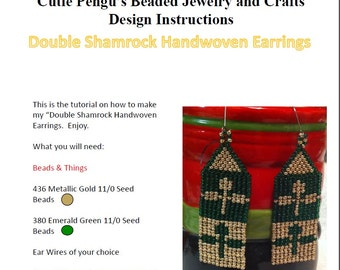 Double Shamrock Handwoven Earrings Tutorial