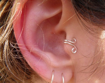 "Tragus Ear Cuff...""Sweet nothings"" silver Tragus ear cuff."
