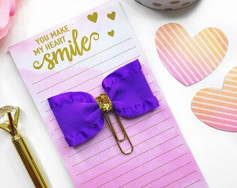 Purple and Gold Planner Clip / Planner Bow Clip / Purple Bow Paper Clip