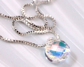 Swarovski Crystal Faceted Flat Briolette on Fine Sterling Silver Necklace Chain