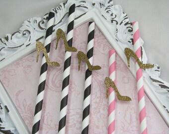 Gold High Heel Paper Straws, Party Decorations, Gold & Pink Decor, Embellished Straws, Bridal, Drinking Straws, High Heel, Shoe - Set of 12