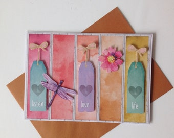 Handmade card, 3D, all occasions, live, laugh, love