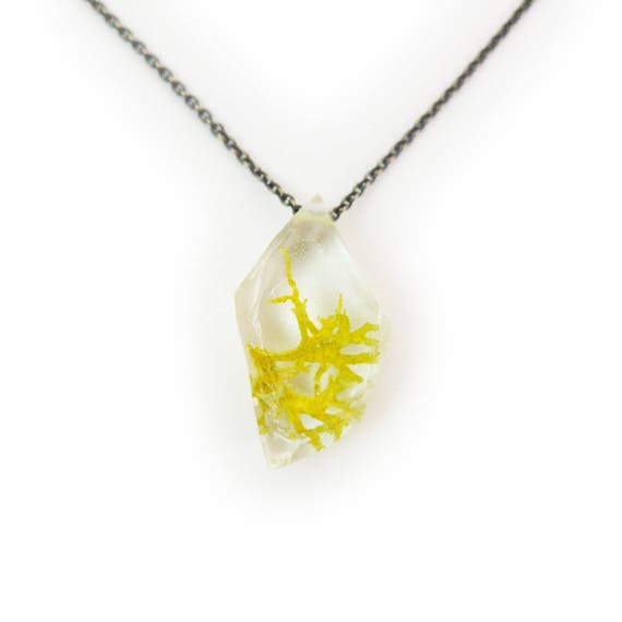 Geometric Terrarium Eco Resin Necklace • Nature Necklace • Eco Resin Silver Leaf Terrarium Necklace • Terrarium Jewelry • Botanical Jewelry