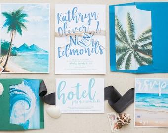 Destination Wedding Invitations, Tropical Wedding Invitations, Beach Wedding Invitation Suite, Invitation Set for Destination Wedding