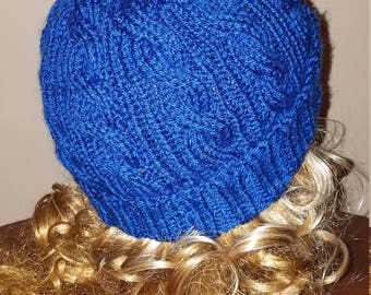 Royal Blue Color Cable Hand-Knit Hat. Super soft - Ready to be Shipped