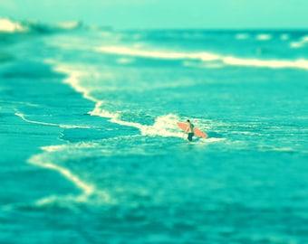 Surf Beach Art Print - Blue Aqua Orange Surfer Tilt Shift Ocean Beach House Home Decor Wall Art - Photograph
